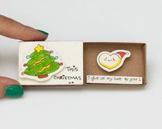 Cute Love Christmas Card/ Holiday Card/ New Year Card Matchbox/ Small Gift box/ This Christmas I give all my love to you (message pour noel) Christmas Gift Box, Unique Christmas Gifts, Christmas Crafts, Matchbox Crafts, Matchbox Art, Small Gift Boxes, Small Gifts, Diy Gifts, Handmade Gifts