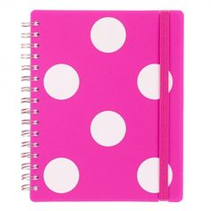 Polka neon pink A6 thick notebook
