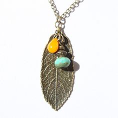 Leaf Necklace Pendant Metal Necklace Boho by NtikArtJewelry