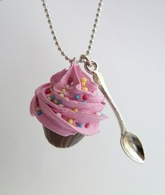 fake Cupcake necklace and small spoon Charm alice in by shimrita, $15.99