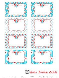 Retro turquoise kitchen labels preview Free Printable Label Retro Kitchen Labels