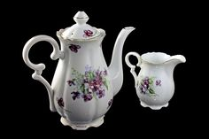 Teapot and Creamer, Celebrate Porcelain, Glenaire, Made in Japan, Purple Violet Design, Gold Trim, Coffee Pot by MountainAireVintage on Etsy