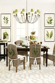 Dining room with spring green accents