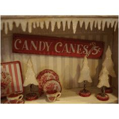 """Christmas Trees and Candy Cane Sign in 1"""" scale."""