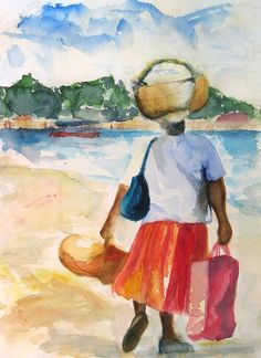 "Art Painting Watercolor Black Jamaican Woman w Fruit Basket - as seen in ""The Get Down"" on Netflix Watercolor Paintings, Original Paintings, Art Paintings, Watercolors, Barbados, Jamaican Women, Caribbean Art, My Art Studio, Beach Print"