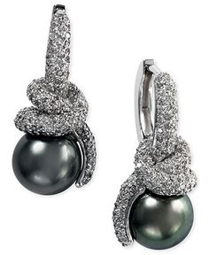 EFFY Collection 14k White Gold Earrings, Cultured Tahitian Pearl and Diamond (1-9/10 ct. t.w.) Earrings - Earrings - Jewelry & Watches - Macy's