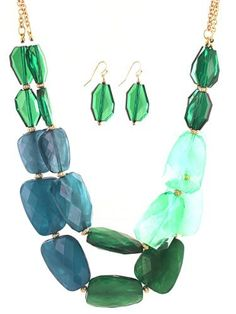 Chunky Stone Ombre Green Necklace with Earrings