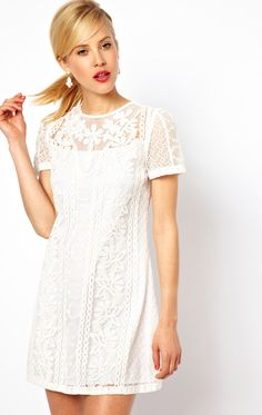 pretty embroidered white dress {adore this}
