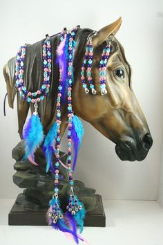 Horse Extentions Beaded Mane Saddle/Bridle Clips by Meadowdancer1, $25.00
