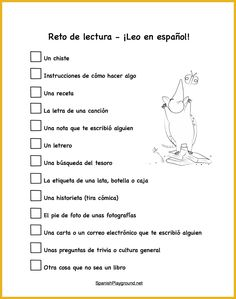 Spanish reading practice should include a variety of types of text. 15 different things for kids to read in Spanish and a printable reading challenge!