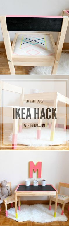 DIY Ikea Latt Table Hack with cushions added to the chairs, paint dipped legs, and a chalkboard top.