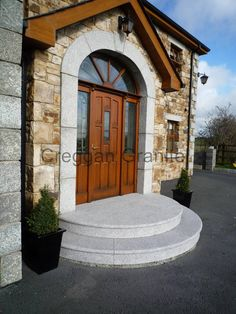 Creggan Granite Supply door surrounds and arches in Granite to the construction industry and self build market. Arched Front Door, Front Door Steps, Porch Steps, Front Entrances, House With Porch, House Front, Front Porch, Backyard Pool Landscaping, Backyard Ideas