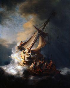 Tableau de Rembrandt, 1632 - La Tempête apaisée est un miracle attribué à Jésus-Christ. Il est cité dans trois Évangiles. Il est le symbole que le Christ est venu apporter la paix à une ht prise dans les flots tumultueux de la vie.