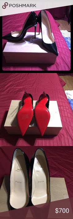 Black patent leather Christian Louboutins! Very sexy patent leather black louboutins! Size 6.5. These are beautiful shoes! I am only selling them because my husband bought them as a gift for me, but I already have the exact same pair! I have never worn these. $600 on pp Christian Louboutin Shoes Heels