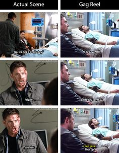 [gifset] Actual scene vs. gag reel. 9x01 I think I'm Going to Like It Here #SPN