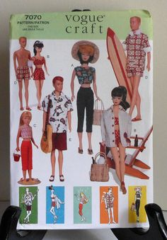 """11.5"""" Fashion Doll Clothes Sewing Pattern UNCUT Vintage Style beach clothing surf bathing suit Vogue Craft 7070"""