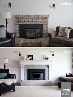 Ugly Brick Fireplace Retrofitted with Re-Designed White Mantle, Shell-Type Tiles, and a New Hearth.