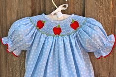 smocked apple dress-would be so darling for a first day of kindergarten!