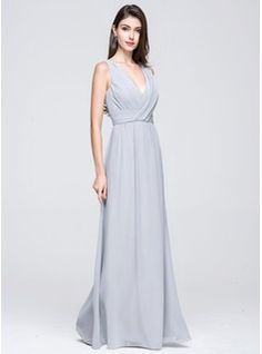 A-Line/Princess V-neck Floor-Length Ruffle Zipper Up Regular Straps Sleeveless No Other Colors Spring Summer General Plus Chiffon Bridesmaid Dress