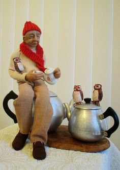 """Empress Wu Designs: Exhibitions...There once was a man from Dumbree, Who taught little owls to drink tea, For he said""""to eat mice. is not proper or nice, That amiable man from Dumbree"""" # tea bag art"""