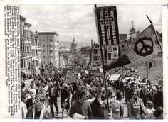 Peace demonstrators against the Vietnam war on Fulton Street in San Francisco. 1967.