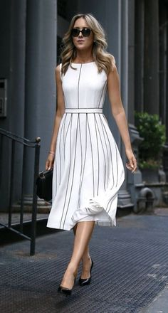 amazing outfit idea / white midi dress + bag + heels