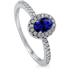 BERRICLE Silver 0.59 CTW Oval Simulated Sapphire CZ Halo Promise... ($35) ❤ liked on Polyvore featuring jewelry, rings, sapphire, women's accessories, cz engagement rings, cubic zirconia wedding rings, cz wedding rings, silver band ring and oval engagement rings
