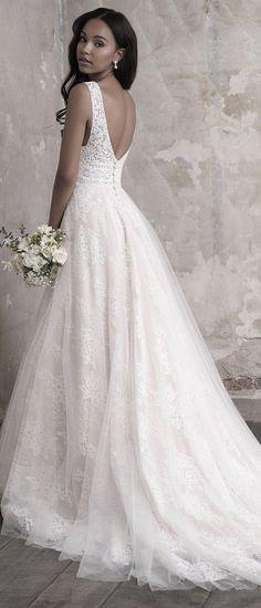 Madison James A line v neck wedding dress back view #weddingdress #weddinggown #laceweddingdress #vintageweddingdress #madisonjamesweddingdress