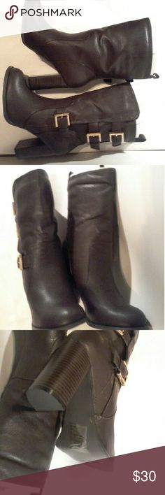 """Women  half boots 6 Women size 6 brown color with buckel closer 3.5"""" heel faux leather material Shoes Heeled Boots"""