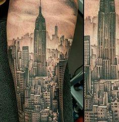 City Tattoos – Tattoo Insider Forearm Tattoos, Body Art Tattoos, Sleeve Tattoos, Cool Tattoos, Chicago Skyline Tattoo, Building Tattoo, Snow Tattoo, Gotham, New York Tattoo