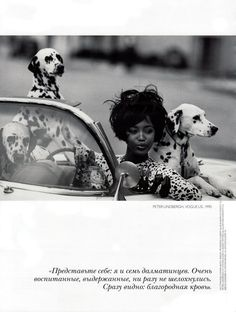 Naomi with dalmations - Vogue 1990