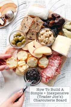 How To Build A Simple Inexpensive Trader Joe's Charcuterie Board A no-frills, step-by-step guide to building a simple and inexpensive Charcuterie Board using ingredients that can be found at Trader Joe's. Perfect for all social occasions. Charcuterie Recipes, Charcuterie Platter, Charcuterie And Cheese Board, Cheese Boards, Antipasto, Crudite, Fancy Cheese, Meat And Cheese, Wine Cheese