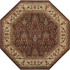 Persian Arts Burgundy (Red) 7 ft. 9 in. x 7 ft. 9 in. Octagon Area Rug