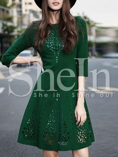 Shop Dark Green A Line Hollow Dress online. SheIn offers Dark Green A Line Hollow Dress & more to fit your fashionable needs.