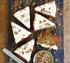 Marrow & pecan cake with maple icing - Using grated marrow in this homely cake gives it a great texture- top with cream cheese frosting