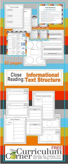Text structures Close Reading: Informational Text Structures Graphic Organizers, Exit Tickets Free from The Curriculum Corner Reading Lessons, Reading Strategies, Reading Skills, Teaching Reading, Reading Comprehension, Math Lessons, Guided Reading, Teaching Art, Teaching Ideas