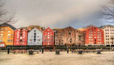 #architecture #building #city #design #norway #old town #outdoor #scandinavia #sky #sunrise #tourism #travel #trondheim #water