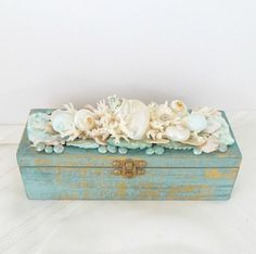 Shell Box Seashell Box with Coral and Shells by SandisShellscapes