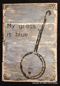 Bluegrass Banjo Wood Painting Pallet by JoBellaWoodDesigns on Etsy