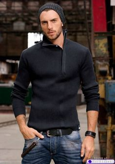 Sweater & jeans would be a great look on my son. elegance man's fashion wear man with black sweater