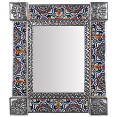 Medium Rectangular Mexican Tin Mirror with Talavera Tile Insets - 13 Wall Mirrors Metal, Mirror Tiles, Framing Mirrors, Spanish Colonial Decor, Flower Mirror, Tin Tiles, Moroccan Bathroom, Acrylic Furniture, Madhubani Art