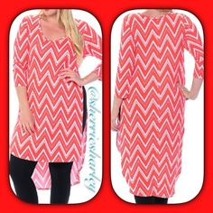 Plus Size Coral Caftan Shirt Dress 2X NWT Coral & White Zig Zag Pattern perfect match for leggings or palazzo's in style!  This size 2X features a 3/4 sleeve with a hi-low slit hemline.  Scoop neck.  Made is USA by Bellino Clothing 93% Rayon. 3% Spandex. Perfect Coral Tone.  NWT Bellino Clothing Dresses High Low