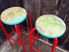 Refurbished/Reappointed ADJUSTABLE Mid-Century Bar Stools with Map Seats
