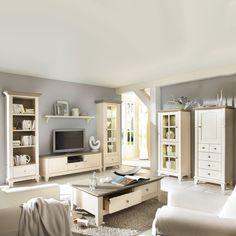 Wohnzimmermöbel Set in Weiß (7-teilig) - Gemütliche Landhausmöbel für das Wohnzimmer aus Massivholz in Weiß und Grau. Spitzenqualität! Landhaus Wohnzimmer Einrichtungsidee! http://www.pharao24.de/wohnzimmermoebel-set-lydia-in-weiss-7-teilig.html#pint