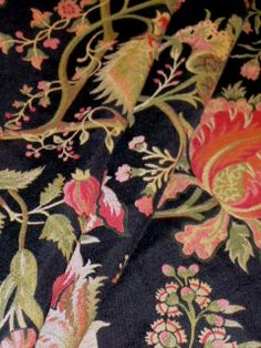 Pattern Harlem color Black Upholstery Fabric, heavy woven railroaded floral pattern see at http://store.schindlersfabrics.com/pahacoblupfa.html  #upholsteryfabric #railroadedfabric #floralfabric