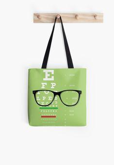 'Eyeglasses Chart Tote Bag by bigbraingirl Large Bags, Small Bags, Cotton Tote Bags, Reusable Tote Bags, Optical Shop, Optician, Medium Bags, Store Design, Eyeglasses