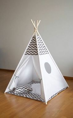 Chevron Grey black blue kids teepee tent wigwam with a padded play mat
