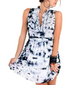 Take a look at the Black Tie-Dye Ruffle Shirt Dress on #zulily today!
