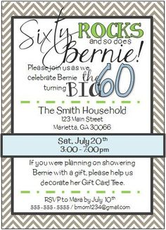 70th birthday party invitations wording crafts pinterest 60th birthday party invitation stopboris Image collections
