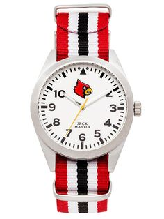 Louisville Cardinals Unisex Nato Striped Strap Watch by Jack Mason  - 1